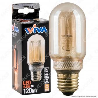 Wiva GlassLight Lampadina LED E27 2,5W Tubolare Ambrata con Incisioni Laser - mod. 12100632