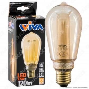 Wiva GlassLight Lampadina LED E27 2,5W Bulb ST64 Ambrata con Incisioni Laser - mod. 12100633