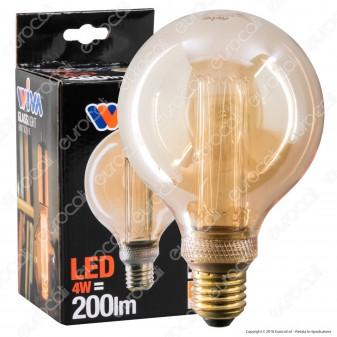 Wiva GlassLight Lampadina LED E27 4W Globo G95 Ambrata con Incisioni Laser - mod. 12100636