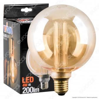 Wiva GlassLight Lampadina LED E27 4W Globo G125 Ambrata con Incisioni Laser - mod. 12100638