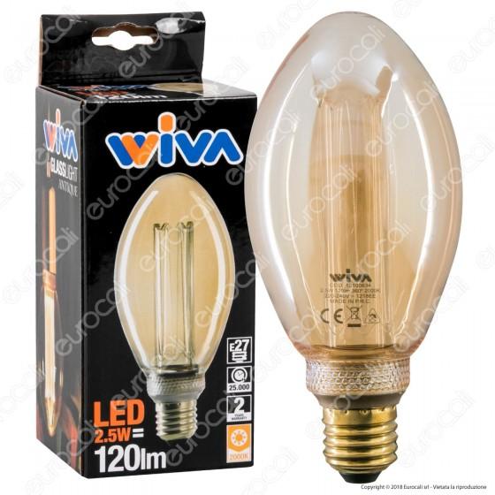Wiva GlassLight Lampadina LED E27 2,5W Bulb A75 Ambrata con Incisioni Laser - mod. 12100634