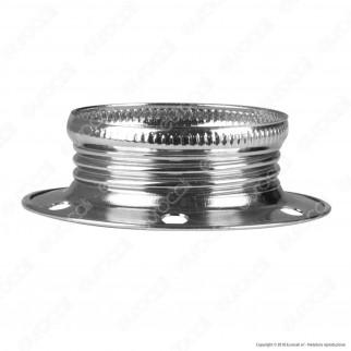 FAI Ghiera Filettata in Metallo per Portalampada E14 Colore Argento