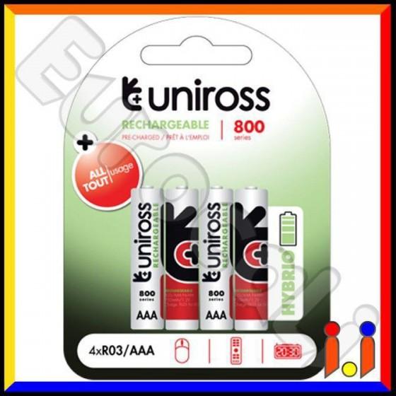 Uniross Hybrio 800 Series Pile Ricaricabili Ministilo AAA - Blister 4 Batterie