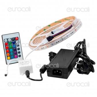 V-Tac Kit con Striscia LED 5050 Impermeabile Multicolore RGB 5mt Controller e Alimentatore Plug&Play 60W