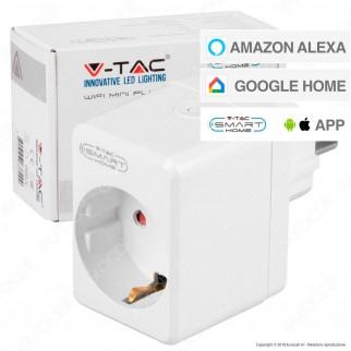 V-Tac Smart VT-5002 Presa 10A Schuko e USB Wi-Fi con Spina Schuko - SKU 8416