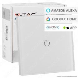 V-Tac Smart VT-5003 Interruttore Touch Wi-Fi Colore Bianco con 1 Tasto - SKU 8417