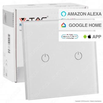 V-Tac Smart VT-5004 Interruttore Touch Wi-Fi Colore Bianco con 2 Tasti - SKU 8418