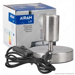 Airam Bot Lighting LIV Lampada da Tavolo con Portalampada per Lampadine E27 Colore Nichel 11cm - mod. 4126243