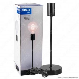 Airam Bot Lighting LIV Lampada da Tavolo con Portalampada per Lampadine E27 Colore Nero 36cm - mod. 4126245