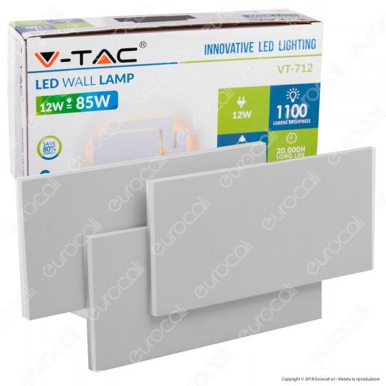 V-Tac VT-712 Lampada da Muro Wall Light LED 12W Forma Rettangolare Colore Grigio - SKU 8207