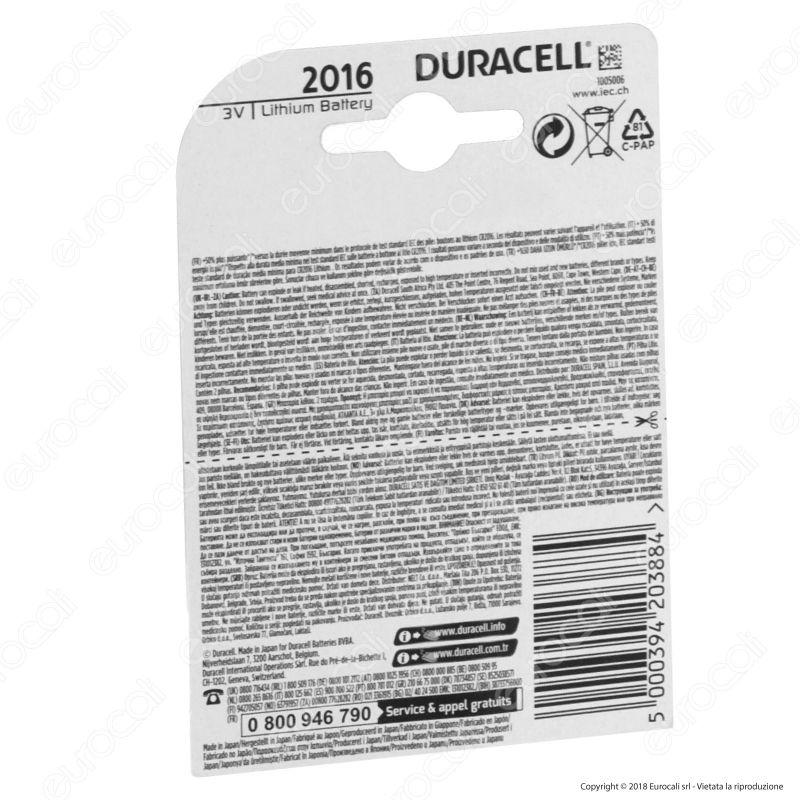 duracell lithium cr2016 dl2016 batteria a bottone 3v. Black Bedroom Furniture Sets. Home Design Ideas