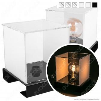 Lampateca Cubo Medio Espositore in Plexiglass con Cavo per 1 Lampadina con Attacco E27 - Made in Italy