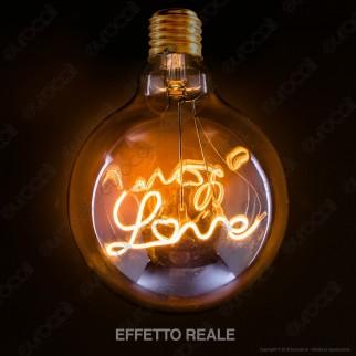 FAI Lampadina E27 Filamento LED Scritta Love 5W Globo G125 Vetro Ambrato Dimmerabile - mod. 5229/CA/ORO