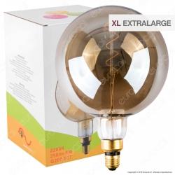 FAI Lampadina E27 Filamento LED a Spirale 5W Globo G200 con Vetro Ambrato Oscurato - mod. 5225/CA/FU