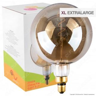 FAI Lampadina E27 Filamento LED a Spirale 5W Globo G200 con Vetro Ambrato Oscurato Dimmerabile - mod. 5225/CA/FU
