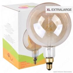 FAI Lampadina E27 Filamento LED a Spirale 5W Globo G200 con Vetro Ambrato - mod. 5225/CA/ORO