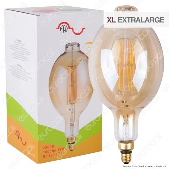 FAI Lampada LED Vintage XL E27 11W Tubolare Filamento Ambrata Dimmerabile - mod. 5250/CA/ORO