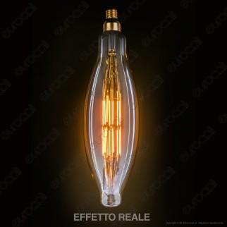 FAI Lampada LED Vintage XL E27 11W Tubolare Filamento Ambrata Dimmerabile - mod. 5251/CA/ORO