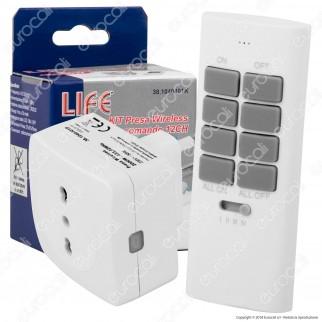 Life Kit Presa Wireless Bivalente e Spina 16A con Radiocomando da 12 Canali - mod. 38.1040401K