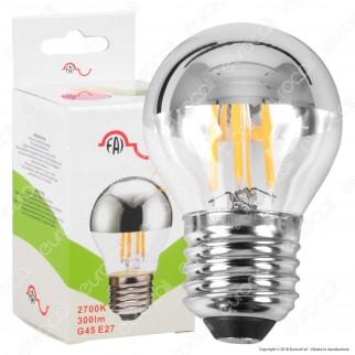 FAI Lampadina E27 Filamenti LED 4W MiniGlobo G45 con Calotta Cromata Dimmerabile - mod. 5260/CA/ARG