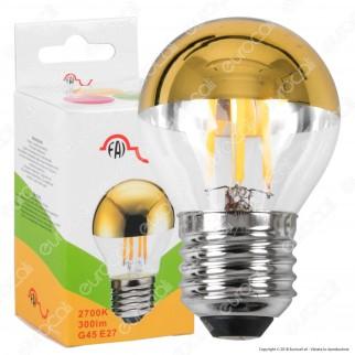 FAI Lampadina E27 Filamenti LED 4W MiniGlobo G45 con Calotta Dorata Dimmerabile - mod. 5260/CA/ORO