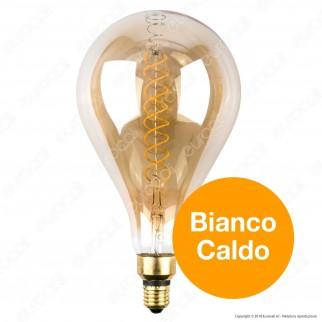 V-Tac VT-2138D Lampadina E27 Filamento LED a Doppia Spirale 8W Bulb A160 con Vetro Ambrato Dimmerabile - SKU 7461