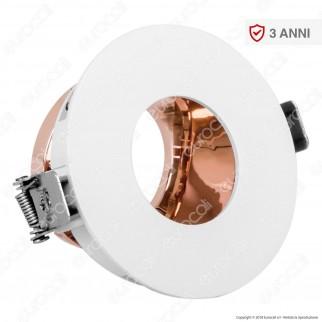 V-Tac VT-873 Portafaretto Orientabile Rotondo da Incasso con Interno Oro Rosa per Lampadine GU10 e GU5.3 - SKU 3159