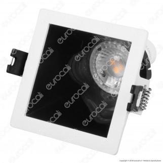 V-Tac VT-875 Portafaretto Quadrato da Incasso con Interno Inclinato Nero per Lampadine GU10 e GU5.3 - SKU 3165