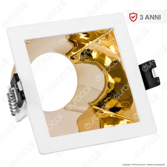 V-Tac VT-875 Portafaretto Quadrato da Incasso con Interno Inclinato Dorato per Lampadine GU10 e GU5.3 - SKU 3166