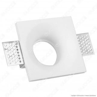 V-Tac VT 859SQ Portafaretto Quadrato da Incasso in Gesso per Lampadine GU10 e GU5.3 - SKU 3696