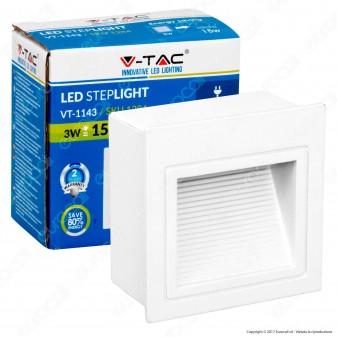 V-Tac VT-1143 Faretto Segnapasso LED da Incasso Quadrato 3W Colore Bianco - SKU 1284