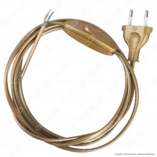 FAI Cavo di Alimentazione Bipolare con Interruttore e Spina 10A Oro - Lunghezza 2m - mod. 3021/OR/200