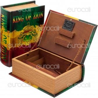 Spliff Box Stazione di Rollaggio in Legno - Libro King of Zion