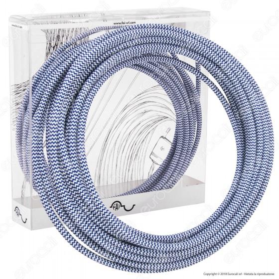 FAI Cavo di Collegamento Elettrico in Corda per Lampade di Design Colore Bianco e Blu