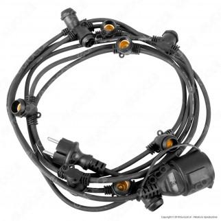 Fan Europe Intec Light Catenaria 5 metri per 10 Lampadine LED E14 per Esterno - mod. I-PICNIC-E14