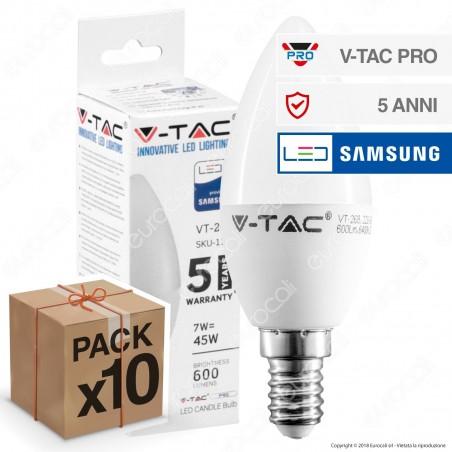 10 Lampadine LED V-Tac PRO VT-268 E14 7W Candela Chip Samsung - Pack Risparmio