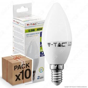 10 Lampadine LED V-Tac VT-1855 E14 5,5W Candela - Pack Risparmio