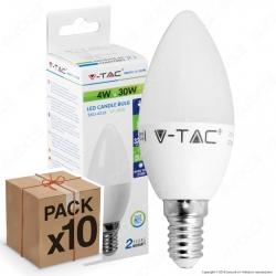 10 Lampadine LED V-Tac VT-1818 E14 4W Candela - Pack Risparmio