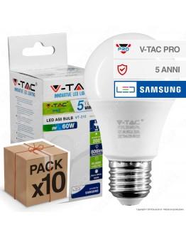 10 Lampadine LED V-Tac PRO VT-210 E27 9W Bulb A58 Chip Samsung - Pack Risparmio