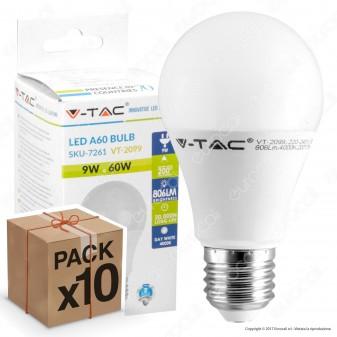 10 Lampadine LED V-Tac VT-2099 E27 9W Bulb A60 - Pack Risparmio
