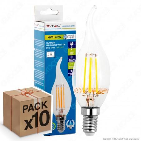 10 Lampadine LED V-Tac VT-1997 E14 4W Candela Fiamma Filamento - Pack Risparmio