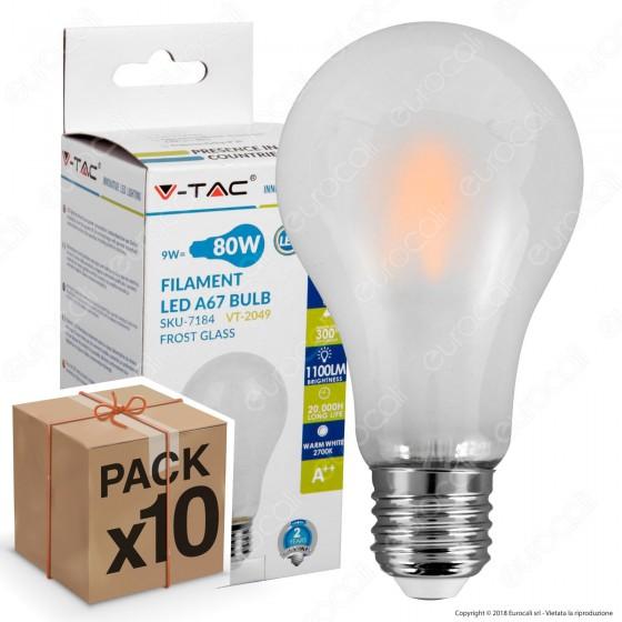 10 Lampadine LED V-Tac VT-2049 E27 9W Bulb A67 Frost Filamento - Pack Risparmio