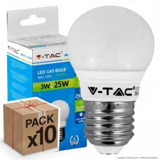 10 Lampadine LED V-Tac VT-2053 E27 3W MiniGlobo G45 - Pack Risparmio