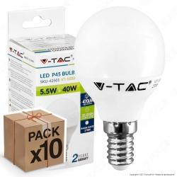 10 Lampadine LED V-Tac VT-1880 E14 5,5W MiniGlobo P45 - Pack Risparmio