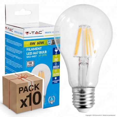 10 Lampadine LED V-Tac VT-1978 E27 8W Bulb A67 Filamento - Pack Risparmio