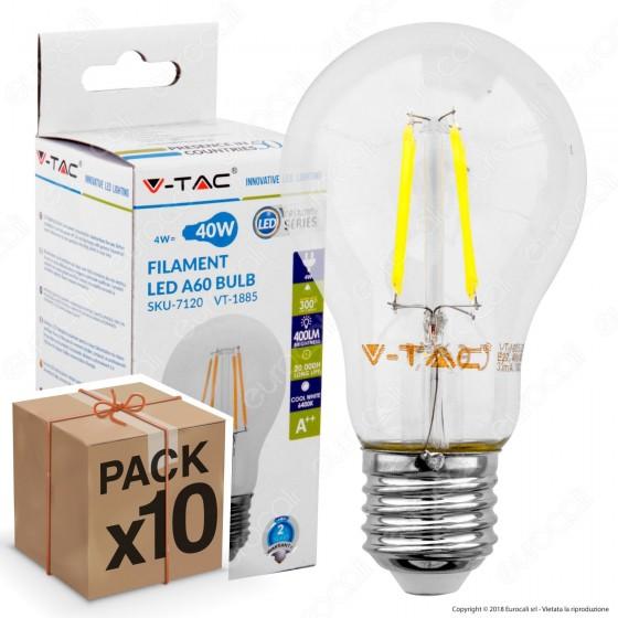 10 Lampadine LED V-Tac VT-1885 E27 4W Bulb A60 Filamento - Pack Risparmio