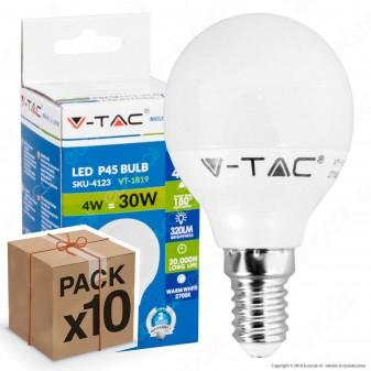 10 Lampadine LED V-Tac VT-1819 E14 4W MiniGlobo P45 - Pack Risparmio