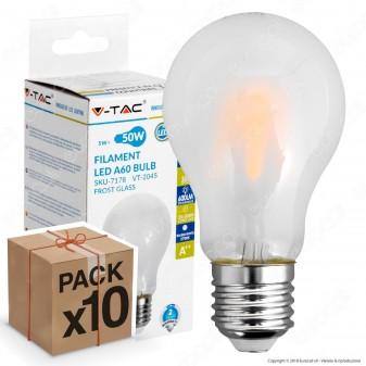 10 Lampadine LED V-Tac VT-2045 E27 5W Bulb A60 Frost Filamento - Pack Risparmio