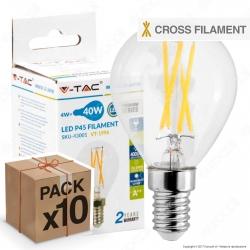 10 Lampadine LED V-Tac VT-1996 E14 4W MiniGlobo P45 Cross Filament - Pack Risparmio