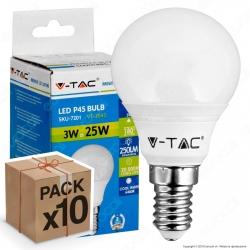 10 Lampadine LED V-Tac VT-2043 E14 3W MiniGlobo P45 - Pack Risparmio